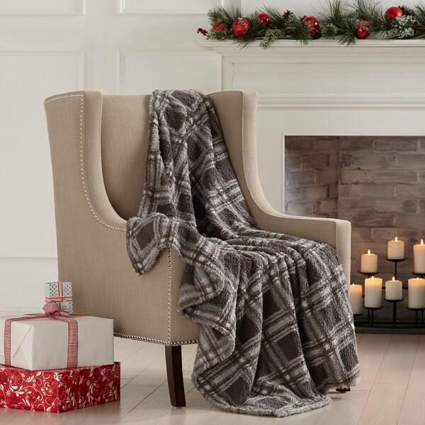 Home Fashion Designs Sherpa Knitted Plush Printed Throw Blanket