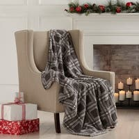Porch & Den Bosworth Sherpa Knitted Plush Printed Throw Blanket