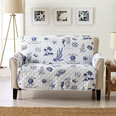 Sofa Saver Coastal Reversible Stain Resistant Printed Loveseat Furniture Protector