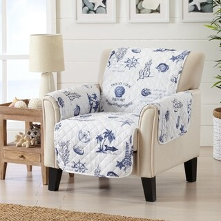 Sofa Saver Coastal Reversible Stain Resistant Printed Chair Furniture Protector