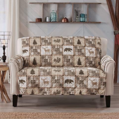 Sofa Saver Lodge Rustic Reversible Stain Resistant Printed Loveseat Furniture Protector