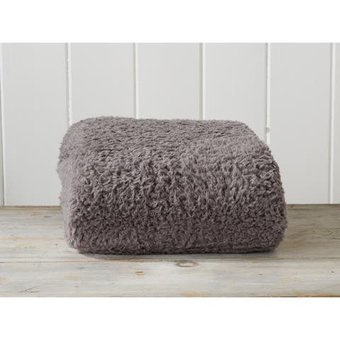 The Gray Barn Tule Ultra Soft Solid Sherpa Stretch Knitted Lightweight Blanket