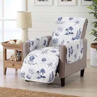 Coastal Reversible Stain Resistant Printed Recliner Furniture Protector