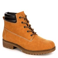 Limelight Womens Brett Faux Leather Lace Up Boot Shoes, Camel