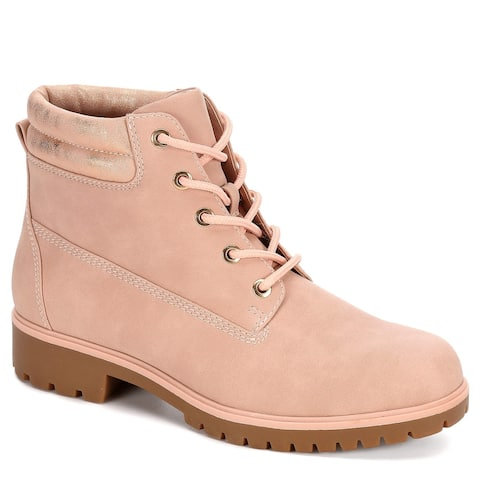 Limelight Womens Brett Faux Leather Lace Up Boot Shoes, Pale Pink