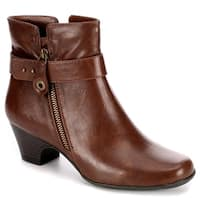 Michael Shannon Womens Sonsa Heeled Ankle Boot Shoes, Rust