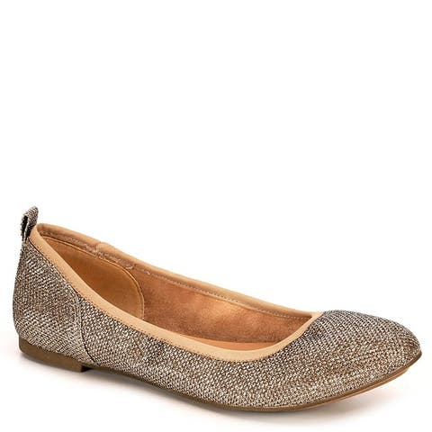 Sophie17 Womens Joy Slip On Ballet Flat Shoes, Gold