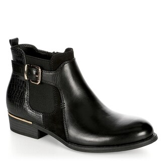 XAPPEAL Womens Faux Leather Croc Print Ankle Boot Shoes, Black