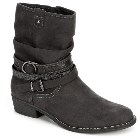 XAPPEAL Womens Shin High Low Heel Slouch Boot Shoes, Dark Grey