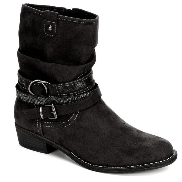 XAPPEAL Womens Shin High Low Heel Slouch Boot Shoes, Black
