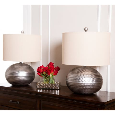 Abbyson Hammered Pewter Finish 20-inch Table Lamp (Set of 2)