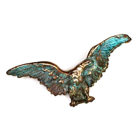 Handmade Verdigris Patina Solid Brass Large Eagle Pin (USA)