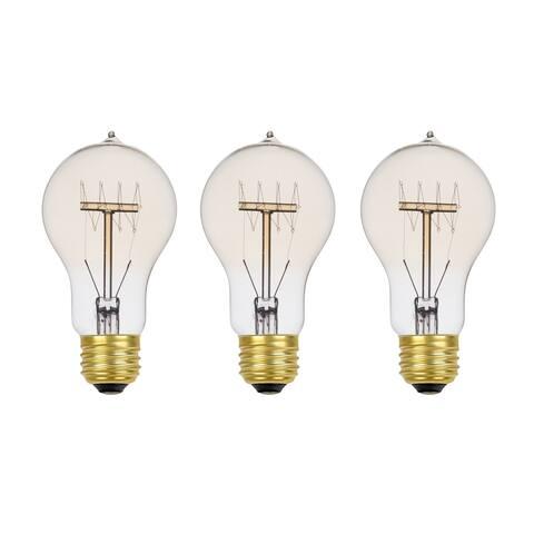 60W Vintage Edison A19 Quad Loop Incandescent Light Bulb (3-Pack)