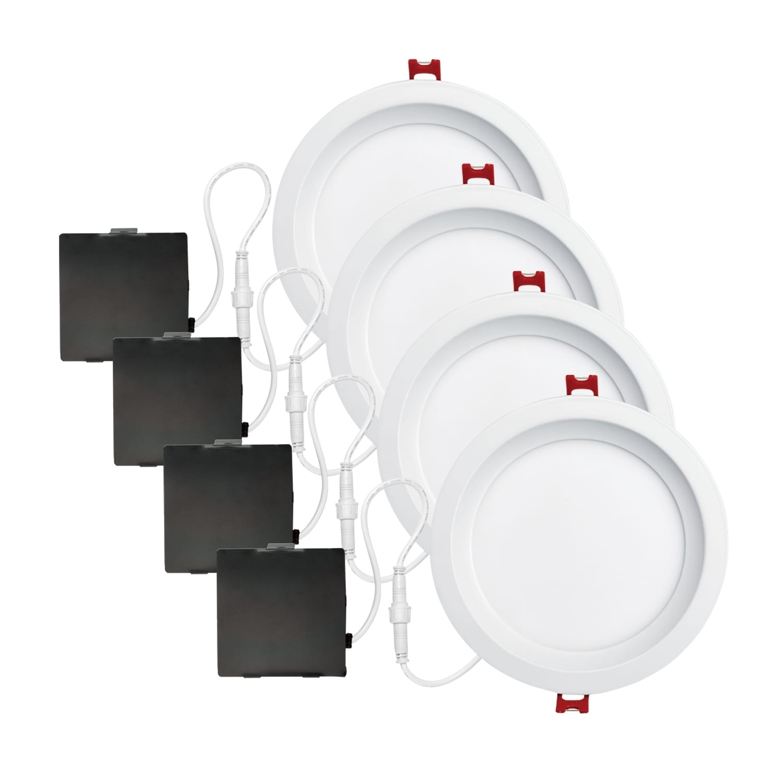 6 In White Ultra Slim Baffle Integrated Led Recessed Lighting Kit
