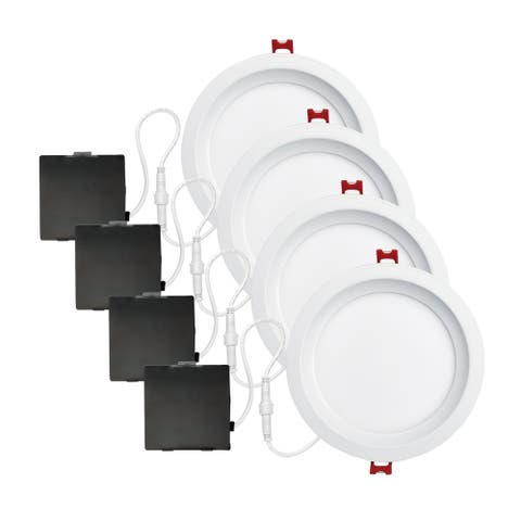 6 in. White Ultra Slim Baffle Integrated LED Recessed Lighting Kit
