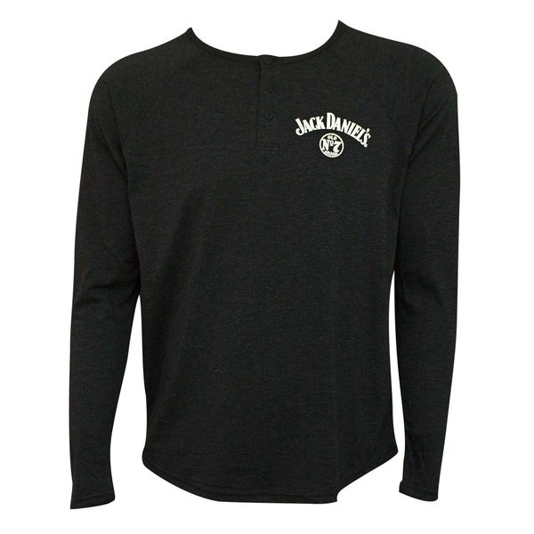 Jack Daniels Long Sleeve Henley Mens TShirt