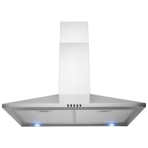 "AKDY 30"" Wall Mount Stainless Steel Push Panel Kitchen Range Hood Cooking Fan"