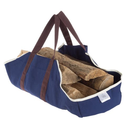 Log Carrier Tote for Firewood- Heavy Duty Canvas Log Holder Bag by Pure Garden - 35 x 24 x 15.75