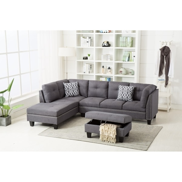 Nail Trim Linen Fabric Sectional Sofa With Storage Ottoman Free Shipping Today 23527404