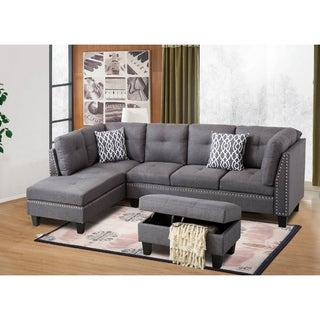 Nail Trim Linen Fabric Sectional Sofa with Storage Ottoman