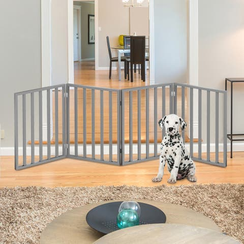 """Wooden Pet Gate- Foldable 4-Panel Indoor Barrier Fence, Freestanding 72 x24"""" by PETMAKER"""