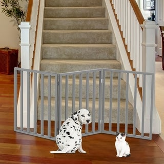 "Wooden Pet Gate Foldable 3-Panel Indoor Barrier Fence 54 x24"" by PETMAKER"
