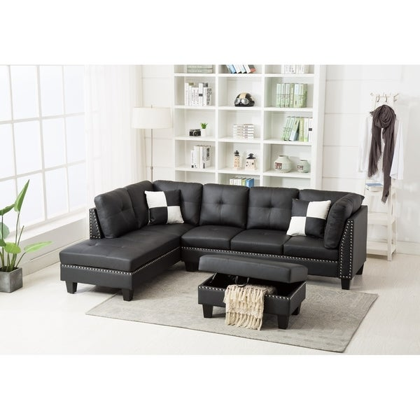 Shop Nail Trim Faux Leather Sectional Sofa With Storage Ottoman