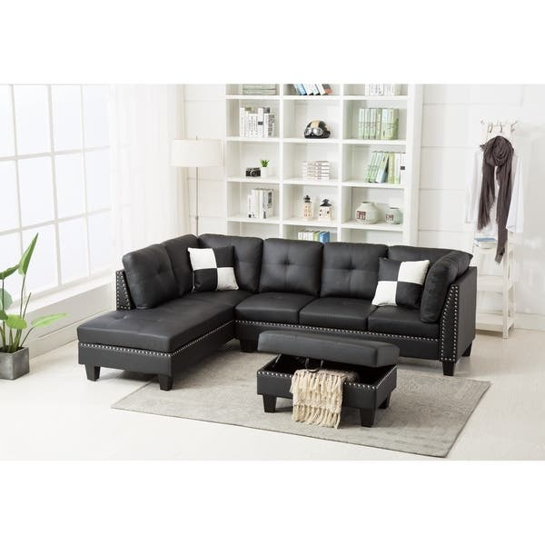 Awe Inspiring Shop Nail Trim Faux Leather Sectional Sofa With Storage Gamerscity Chair Design For Home Gamerscityorg