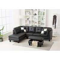 Nail Trim Faux Leather Sectional Sofa with Storage Ottoman