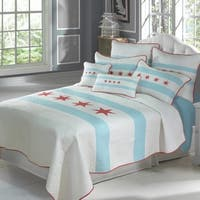 Donna Sharp Midway Stripe Quilted Bedding - Blue/Red/White