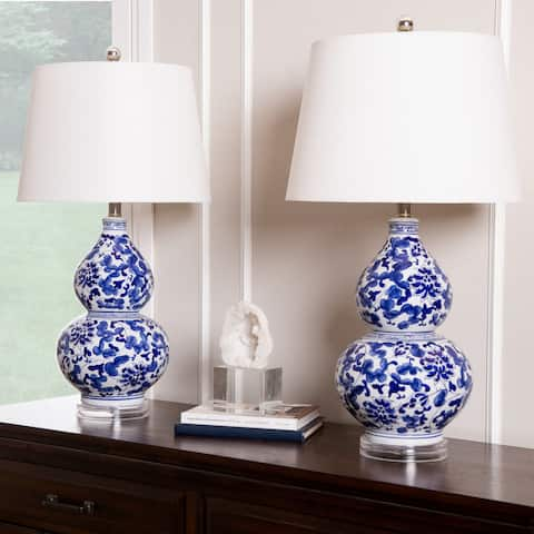 Ginger Blue Floral Ceramic Table Lamp (Set of 2) By Abbyson