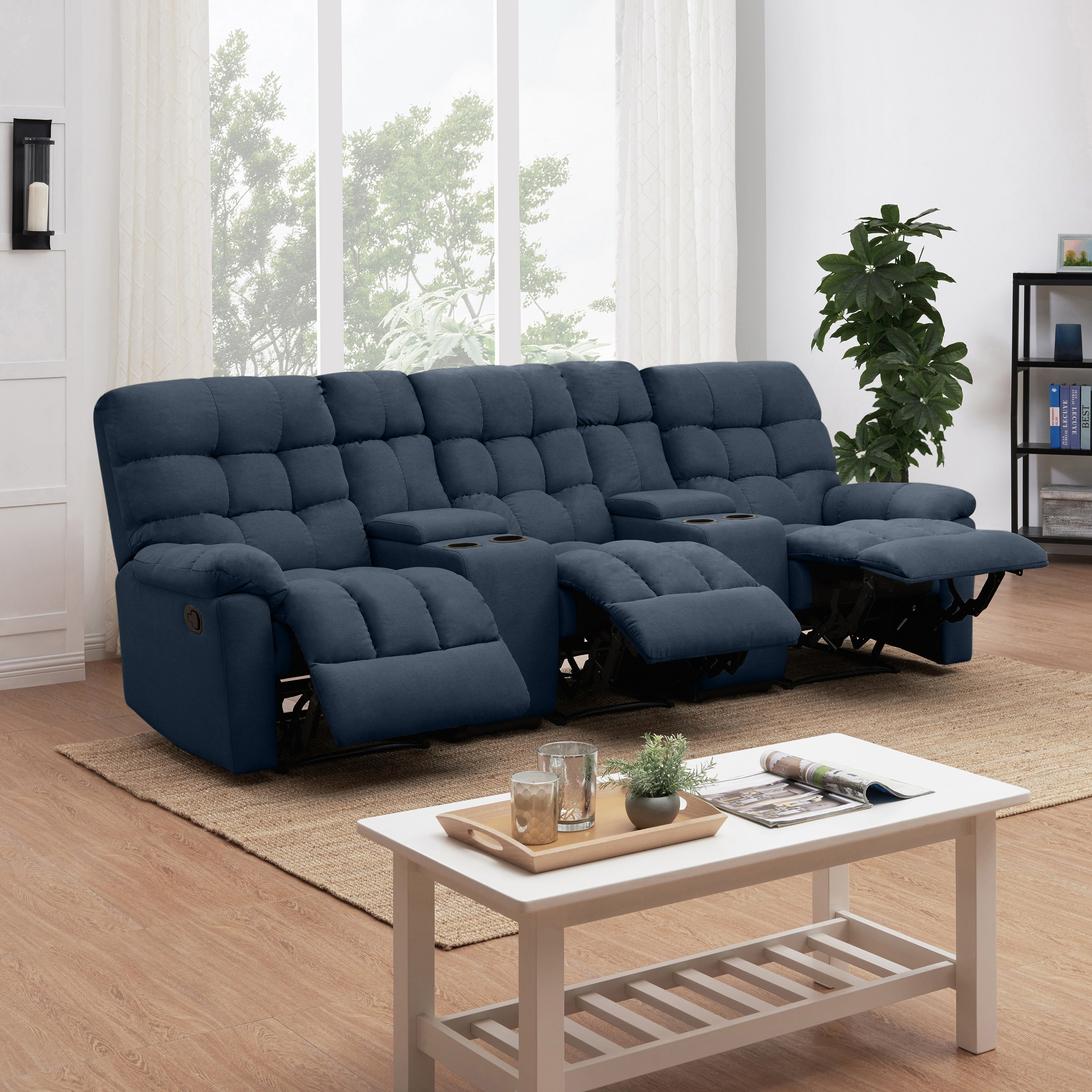 Copper Grove Gramsh Medium Blue Tufted Velvet 3-seat Recliner Sofa with  Power Storage Console