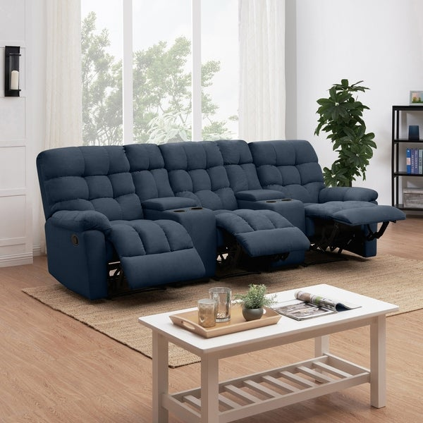 Shop Prolounger Medium Blue Tufted Velvet 3 Seat Recliner Sofa With