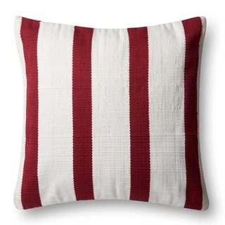 Indoor/ Outdoor Red/ Ivory Stripe 22-inch Pillow Cover