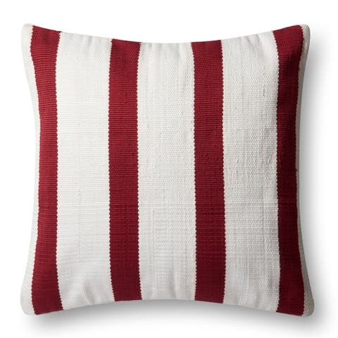 Indoor/ Outdoor Red/ Ivory Stripe 22-inch Throw Pillow