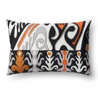 Indoor/ Outdoor Orange/ Black Ikat 13 x 21 Throw Pillow