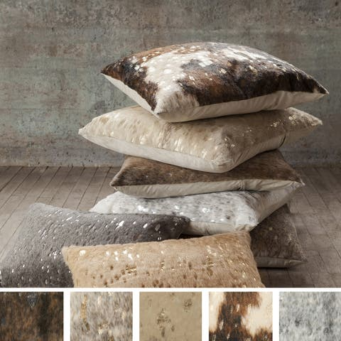 Faux-Rawhide Metallic 22 Inch Decorative Throw Pillow Cover