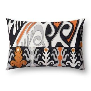 Indoor/ Outdoor Orange/ Black Ikat 13 x 21 Pillow Cover
