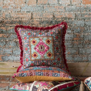 Boho Magenta/ Teal Moroccan Fringe Cotton 18-inch Pillow Cover