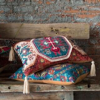 Boho Rust/ Teal Moroccan Tassel Cotton 13 x 21 Throw Pillow