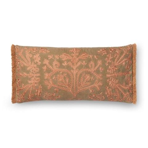 Embroidered Khaki/ Copper Victorian 12 x 27 Throw Pillow