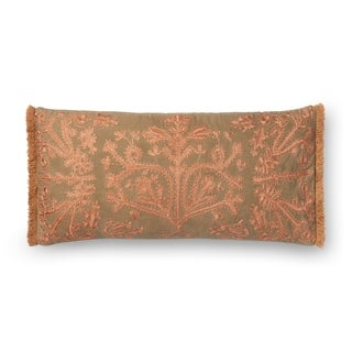 Embroidered Khaki/ Copper Victorian 12 x 27 Throw Pillow