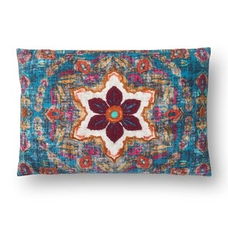 Boho Teal/ Rust Floral Cotton 13 x 21 Pillow Cover