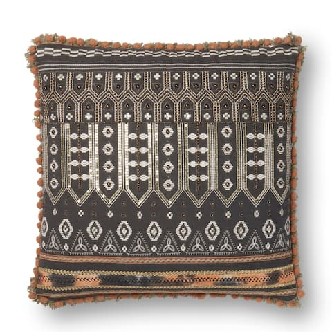 Boho Dark Grey Sequin Embroidered Cotton 18-inch Throw Pillow