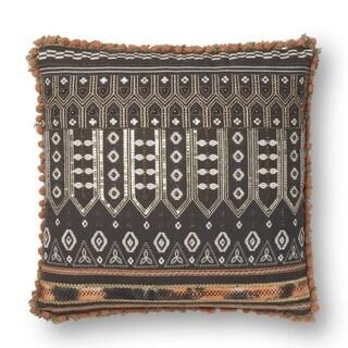 Boho Dark Grey Sequin Embroidered Cotton 18-inch Throw Pillow