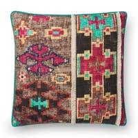 Boho Fuchsia/ Khaki Moroccan Cotton 18-inch Throw Pillow
