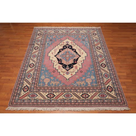 "Romanian Serapi Hand Knotted Wool Persian Area Rug (7'11""x10'4"") - Ivory/Pink - 7'11"" x 10'4"" - 7'11"" x 10'4"""