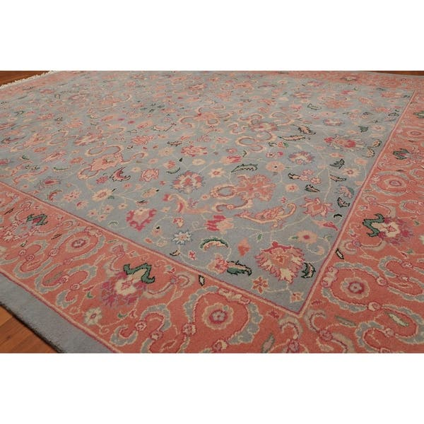 Romanian Kashan Hand Knotted Wool Persian Area Rug 7 11 X9 11 Blue Pink 7 11 X 9 11 7 11 X 9 11 On Sale Overstock 23528143