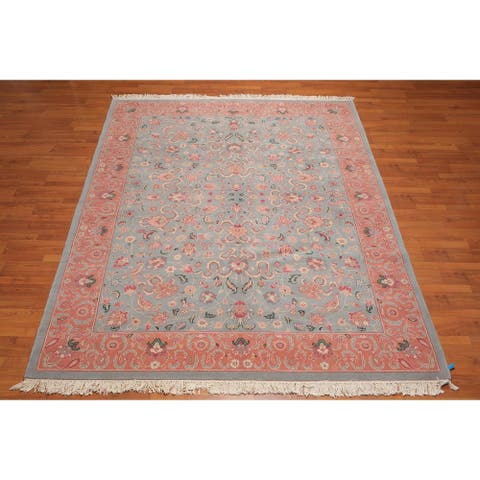 """Romanian Kashan Hand Knotted Wool Persian Area Rug (7'11""""x9'11"""") - Blue/Pink - 7'11"""" x 9'11"""" - 7'11"""" x 9'11"""""""