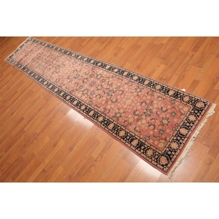 """Romanian Kashan Runner Hand Knotted Wool Rug (2'6""""x11'10"""") - Rose/Black - 2'6"""" x 11'10"""""""
